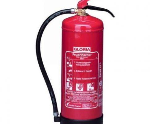 Dauerdruckfeuerlöscher 6kg Brandklasse A / B / C mit Wandhalter
