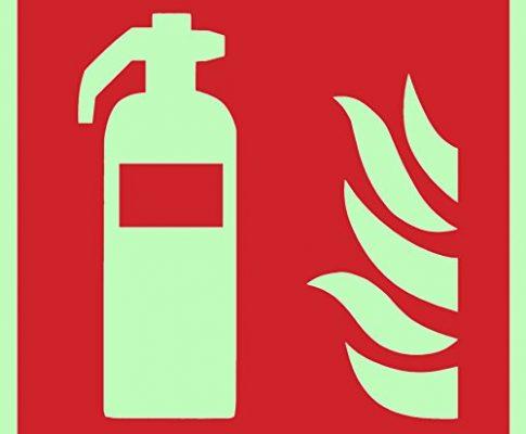 Brandschutzzeichen Symbolschild Feuerlöscher ISO Kunststoffplatte lang nachleuchtend 200x200mm