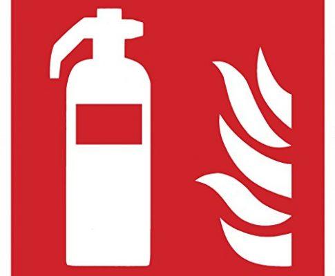 Brandschutzzeichen Symbolschild Feuerlöscher ISO Folie selbstklebend 150x150mm