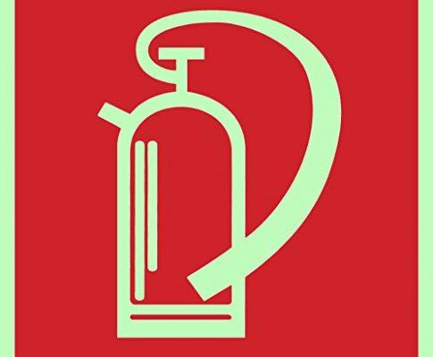 Brandschutzzeichen Symbolschild Feuerlöscher DIN Folie nachleuchtend &. selbstklebend 200x200mm