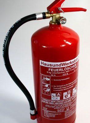 6 kg Pulver Feuerlöscher 10LE mit Manometer Dauerdrucklöscher GP-6X Instandhaltungsnachweis Feuerlöscher-Tauschsystem