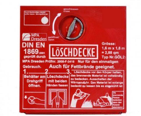 Löschdeckenbehälter aus Stahlblech, 30x30x8cm, mit Löschdecke 1,6m x 1,8m