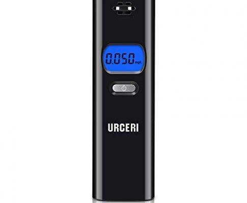 URCERI Mini-Alkoholtester, tragbar, digitaler Alkoholtester, mit akustischem Alarm, LCD-Display, 3 Einheiten, Umwandlung von Alkootest, Schnelles und präzises Lesen für Motorräder, LKW, Auto, Schwarz