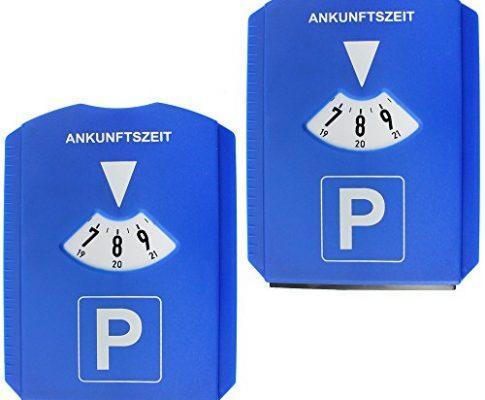 Parkscheibe – com-four® 2er Pack 3in1 Parkscheibe mit Eiskratzer & Gummilippe, Parkscheibe mit 24-Stunden-Anzeige, 2er Sparpack 02 Stück