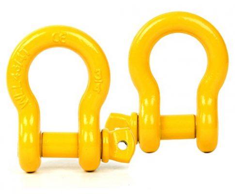 FreeTec Bogen Stahl Schäkel 4,75t Tragfähigkeit perfekt Befestigen Abschlepp- hebegurte Fesseln D Ring zur Bergung Abschleppen,2 Stk. Gelb