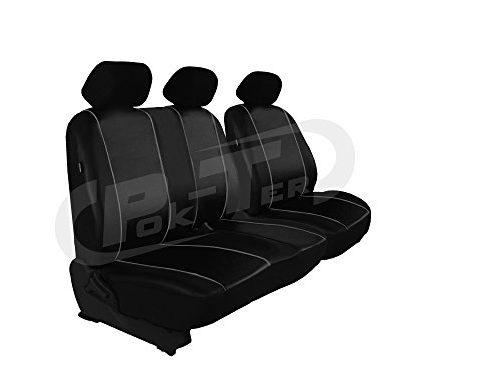 Für VITO W 447 maßgefertigter Sitzbezug für Bus / Transporter Fahrersitz + 2er Beifahrersitzbank Kunstleder SCHWARZ