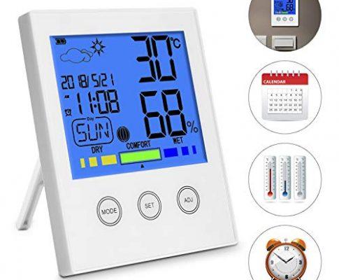 Digital Funk Wetterstation mit Großes LCD-Display +Wecker,Thermo-Hygrometer,Temperatur, Luftfeuchtigkeit Monitor, Wetter, Uhrzeit, Datum, Wochentag und Komfortanzeige ℃/℉ Schalter