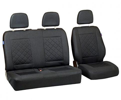 T4 Sitzbezüge – Set 1+2 – Farbe Premium Schwarz gepresstes Karomuster