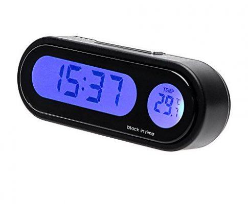 NOPNOG Uhr mit Digitalanzeige und Thermometer zur Auto-Innendekoration, Armaturenbrett-Verzierung