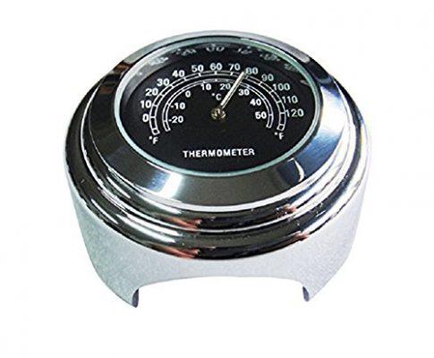 SODIALR Wasserdichtes 7/8″ Motorrad Lenker Fahrradhalterung Temperatur Thermometer YAMAHA Harley Schwarz
