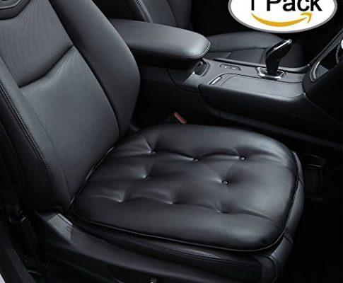 Weiches Autositzkissen Sitzbezüge Leder, Bequeme Sitzauflage Universal Auto Sitzauflagen, Schwarz – Big Hippo Auto Sitzkissen