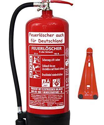 NEU 6 L Schaum Feuerlöscher Brandklasse AB DIN EN3 GS + Wandhalter + Manometer + Standfuß, 21 A, 144 B, 6 LE Schaumlöscher