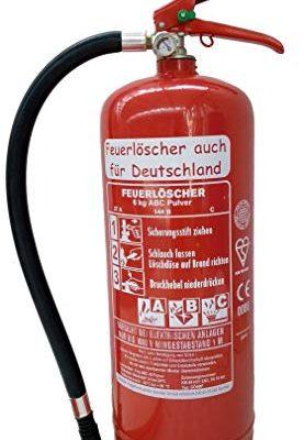 6 kg ABC Pulver Feuerlöscher NEU Orginalverpackt Brandklasse ABC, EN3, Messingarmatur + Sicherheitsventil + Manometer, Ohne Kunststoffstandfuß, Ohne Wandhalter, Pulverlöscher