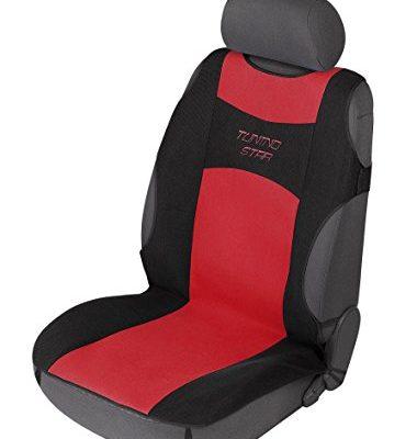 TÜV-geprüft auf Seitenairbagtauglichkeit – Walser 12646 Autositzbezug Tuning Star T-Shirt Design, Sitzbezug, Autoschonbezug in Schwarz/Rot