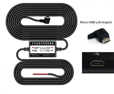 3,2 Meter 10,5 Fuß – Micro USB Links Winkel Auto Netzteil Ladegerät Adapter Inverter – LoongGate 12V / 24V bis 5V Abwärtswandler Buck Modul – Versteckte Verkabelung Kabel für DVR GPS Recorder Kamera
