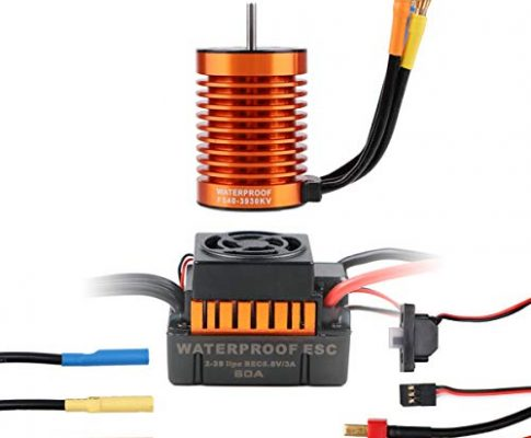 Crazepony-UK 3930KV 10T Sensorless Brushless Motor 4 Poles and 60A ESC Electronic Speed Controller Waterproof for 1/10 RC Car Truck Running Off-Road Car