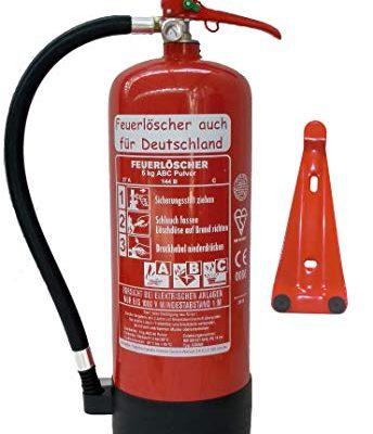 6 kg ABC Pulver Feuerlöscher NEU Orginalverpackt Brandklasse ABC, EN3, Messingarmatur + Sicherheitsventil + Manometer, mit Kunststoffstandfuß + mit Wandhalter, Pulverlöscher