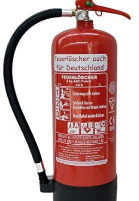 6 kg ABC Pulver Feuerlöscher NEU Orginalverpackt Brandklasse ABC, EN3, Messingarmatur + Sicherheitsventil + Manometer, mit Kunststoffstandfuß + ohne Wandhalter, Pulverlöscher