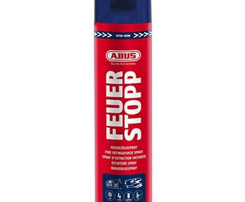 Brandklassen A-B-F rot – Feuerlöscher für Küche, Grill und Haushalt – ABUS Feuerlöschspray AFS625 Feuerstopp – hohe Sprühweite – 85727