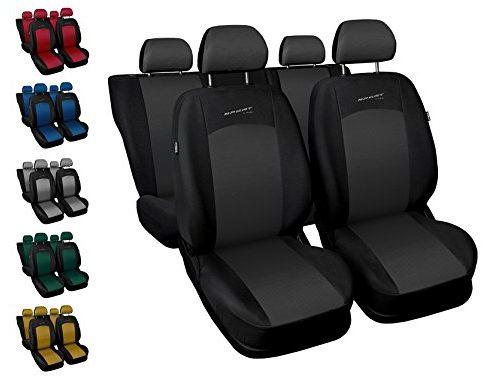 Sitzbezüge Auto universal Set Autositzbezüge Schonbezüge schwarz-grau Vordersitze und Rücksitze mit Airbag – Sport Line