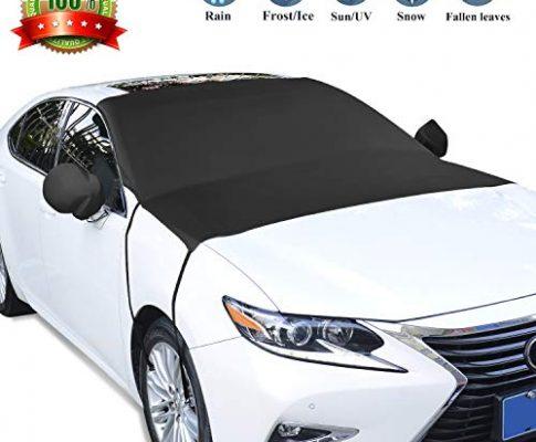 GikPal Auto Windschutzscheibe Schneedecke, SUVs Windschutzscheibe Sonnenschutz UV-Strahlen Hitze Staubschutz Frost Eisdecke mit Haken und Schnalle