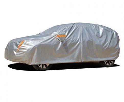 Kayme Vier Schichten autoabdeckung vollgarage für Winter & Sommer Wasserdicht Mit Baumwollreißverschluss Sun Uv Regenschutz Outdoor Fit SUV 485x190x180CM YL