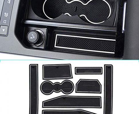 Muchkey für 2012-2015 Evoque Rutschfest Auto Innentür-Schalen-Matten Arm Box Aufbewahrungsmatte Pad, Anti-Staub-, Tür-Slot-Pad, Cup Mat 8 Stück pro Satz Weiß