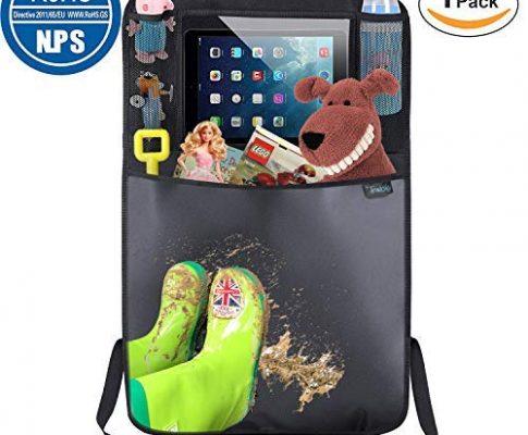 Termichy Auto Rückenlehnenschutz, Trittschutz mit Rücksitz-Organizer, Rücksitzschoner, Kick-Matten-Schutz für Autositz mit Durchsichtigem Großen iPad-Tablet-Halter Wasserdichtes 1 Stück