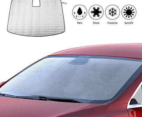 Volwco Tesla Model 3 Auto Sonnenschutz Frontscheibe Faltbare, Sommer Windschutzscheiben Abdeckung Auto Sonnenblende für Baby Kinder Hunde