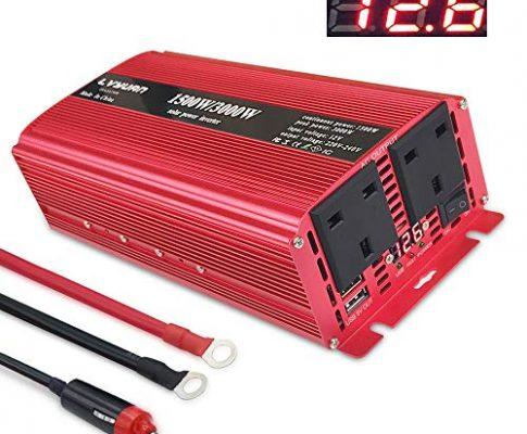 lvyuan Spannungswandler 1500W/3000W Dual AC Steckdosen und Dual USB Transformator DC 12 V bis 230 V 240 V AC Auto Konverter mit Digital Display 4 externe 40, für Auto, Boot, Camping, Reisen