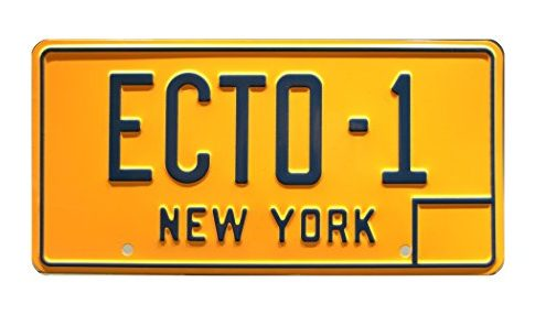 Celebrity Machines Ghostbusters | '59 Cadillac Hearse | ECTO-1 | Metal Stamped Vanity Prop License Plate