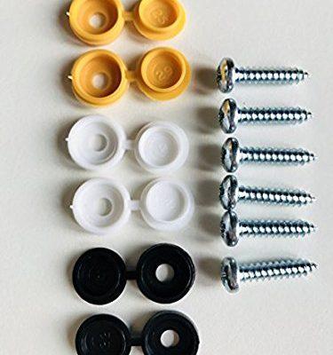 BEK-FIX Kfz-Nummernschildbefestigungs-Set, 6 Stück Kappen und Schrauben