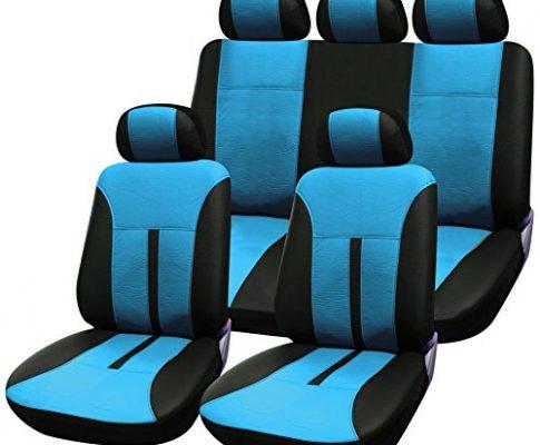 eSituro universal Auto Schonbezug Komplettset Sitzbezüge für Auto aus Kunstleder schwarz/blau SCSC0088