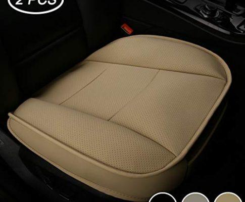 LUOLLOVE Sitzbezüge Auto Universal Leder Super Weich für Vordersitz 2PCS Beige 52 x 51 cm