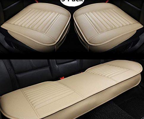 BambusKohle PU Leder – HONCENMAX Auto Sitzauflage Sitzkissen Universal Sitzauflagen Autositzbezüge – Ohne Rückenlehne 2+1 Vorder und Rücksitzbezüge