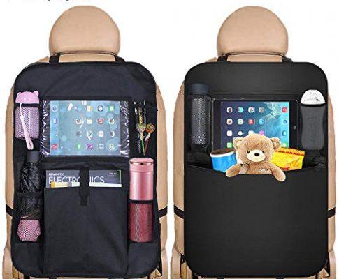 Auto Rückenlehnenschutz, 2 Stück Auto Rücksitz Organizer für Kinder, Rücksitzschoner Rückenlehnen-Tasche mit iPad-Tablet-Halter und Große Taschen, Wasserdicht Autositz Schoner Kick-Matten-Schutz