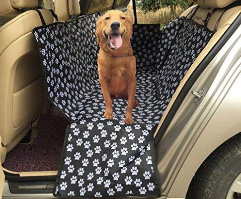 Lenezaro Auto-Rücksitzbezug für Hunde, wasserdicht, kratzfest, rutschfest, Oxford-Gewebe, Pfotenmuster, mit Sicherheitsschnalle/Sicherheitsausgang, für alle Autos geeignet