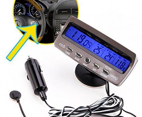 Digi. LCD Auto KFZ Uhr Spannung Thermometer Innen Außen Eiswarn