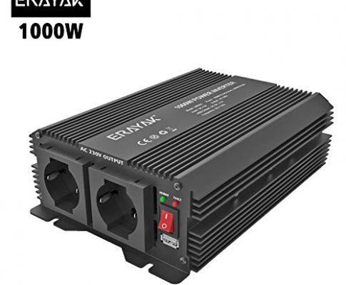 erayak 1000W Wechselrichter für Auto mit 2.1A USB, DC 12V auf 230V AC Inverter mit eine italienische Steckdose AC 1000W