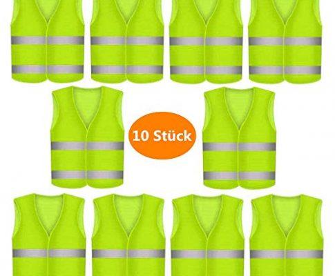 10 Stück Warnweste Pannenweste Warnwesten Set für Auto Neon Gelb   Knitterfrei   Waschbar  360 Grad Reflektierende Schutz Weste