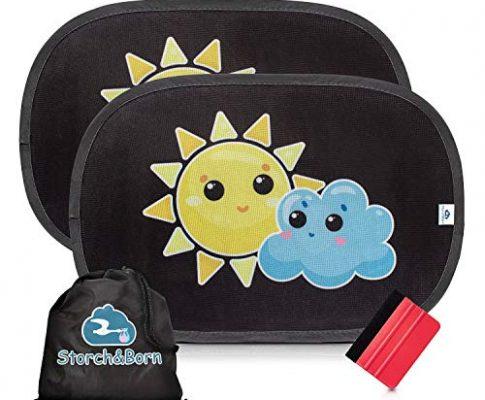 48cm x 32,5cm – Auto Sonnenschutz von Storch&Born® | Premium Sonnenblende mit Andrückrakel und Aufbewahrungstasche | Selbsthaftende Sonnenschutzblende für Ihre Autoscheiben | 2 Stück