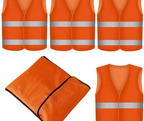 4 Warnwesten Sicherheitsweste Set Pannenweste ORANGE   Atmungsaktiv   360 Grad Reflektierende Schutz Weste Prowiste®