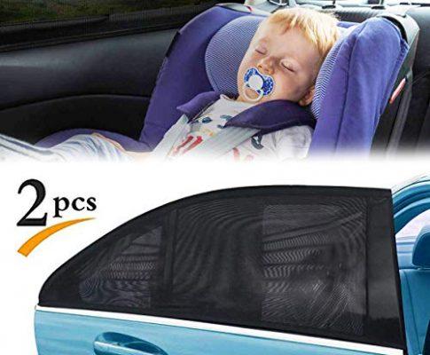 FAGORY Sonnenschutz Auto Baby/Kinder 2 Stück Auto Sonnenschutz Zubehör für Seite Heckscheibe Fenster, bietet maximalen Schutz gegen UVA für Baby, Kinder, Haustiere, 50″x20″ für Die Meisten Auto