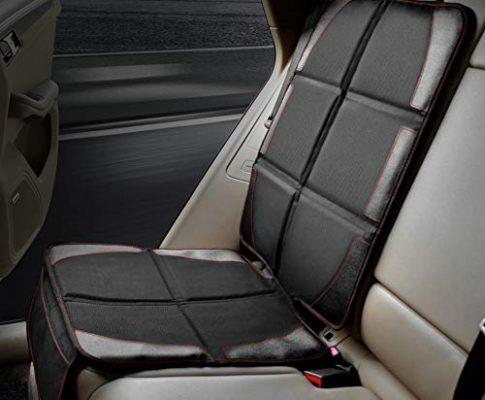 Kindersitzunterlage, POOPHUNS Autositzauflage, ISOFIX geeignete Unterlage für Kindersitze, mit Netztasche, utschfest, pflegeleicht und sicher, Autositzschoner Universal Passend für Fast Alle Autos
