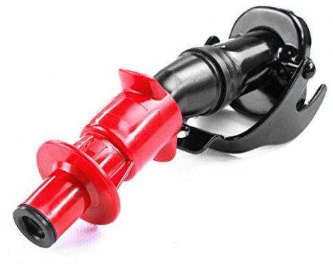 passend für 5,10,20 L Metallkanister – aus Metall – schwarz/rot – Oxid7® Ausgießer Smart Spout mit Sicherheits-Einfüllsystem und Automatikverschluss für Metall Benzinkanister Kraftstoffkanister