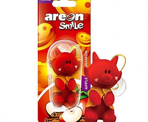 AREON Smile Lufterfrischer Auto Duft Lustig Rot Teufel Autoduft Apfel Zimt Anhänger Zum Aufhängen Hängend Spiegel Figur Wohnung Süß 3D Apple and Cinnamon Pack x 1