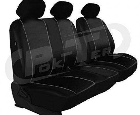 POK-TER-TUNING Maßgefertigter Sitzbezug für Crafter II ab 2017. Fahrersitz + 2er Beifahrersitzbank Lehne geteilt Kunstleder. Farbe SCHWARZ