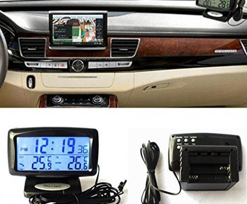Tookie 2-in-1 Autokit, elektronische Uhr, Thermometer, doppeltes Temperaturmessgerät für den Innen- und Außenbereich, LED-Digitalanzeige mit Hintergrundbeleuchtung