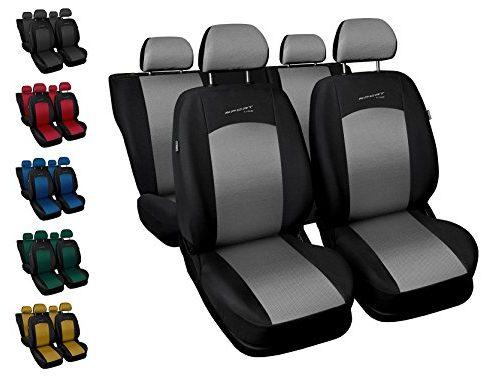 Sitzbezüge Auto universal Set Autositzbezüge Schonbezüge schwarz-Silber Vordersitze und Rücksitze mit Airbag – Sport Line