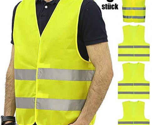 JHCtech 5 Stück Warnwesten Auto, Neon Gelb Waschbar 360 Grad Reflektierende Sicherheitsweste für Die Sicherheit Von Fahrern, Fahrern und Arbeitern mit Hohem Risiko(EINWEG)